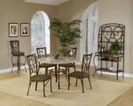 Brookside Round Dining Set with Oval Back Chairs (Brown Powder Finish)