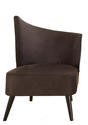 Elegant Accent Chair with Right-Flared Back (Black Microfiber)