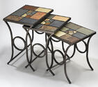 Pompei Nesting Tables Set (Black Gold Finish)