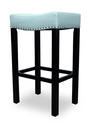 Tudor Barstool (Blue Bonded Leather & Chrome Nail)