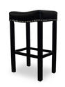 Tudor Counter Stool (Black Bonded Leather & Chrome Nail)