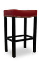 Tudor Counter Stool (Red Bonded Leather & Chrome Nail)