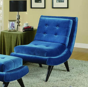 5th Avenue Armless Swayback Lounge Chair (Cerulean Blue) - [LC281FABL]