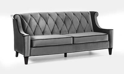 Barrister Sofa (Gray Velvet With Black Piping) - [LC8443GRAY]