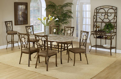 Brookside Dining Set with Oval Back Chairs (Brown Powder Finish)