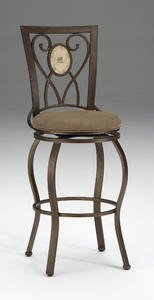 Brookside Oval Fossil Back Swivel Counter Stool (Brown Powder Finish) - [4815-826]