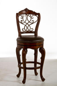 Burrell Swivel Counter Stool (Brown Cherry & Leather Finish) - [5170-826]