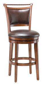 Calais Wood Swivel Barstool in Brown Vinyl & Cherry - [4298-830S]