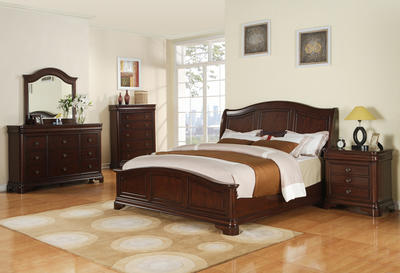 Cameron Bedroom Set (Dark Cherry Finish) - [CM750QB]