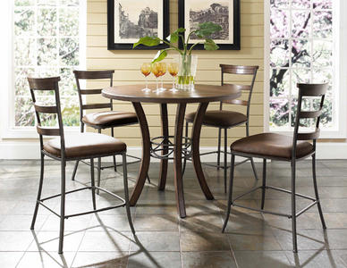 Cameron  Counter Height Round Dining Set with Ladder Back Stools (Chestnut Brown Finish) - [4671CTBWS5]