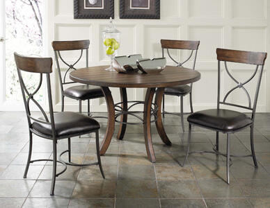 Cameron Round Wood Base Dining Set with X Back Chairs (Chestnut Brown Finish) - [4671DTBWC2]