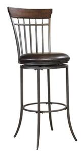 Cameron Swivel Barstool with Vertical Spindle Back (Chestnut Brown Finish) - [4671-831]