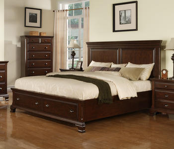 Canton Storage Bed (Cherry Finish) - [CN350QB]