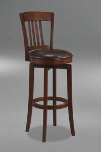 Canton Swivel Bar Stool with Vinyl Seat (Brown Finish) - [4166-833]