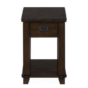 Cassidy Brown Traditional Plank Top Chairside Table - [561-7]