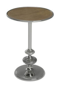 Cecil Side Table (Silver & Aged Genuine Leather) - [6284]