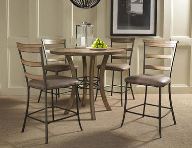 Charleston Counter Height Round Wood Dining Set with Ladder Back Stools (Desert Tan Finish) - [4670CTBWS5]