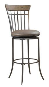 Charleston Swivel Counter Stool with Vertical Spindle Back (Desert Tan Finish) - [4670-827]