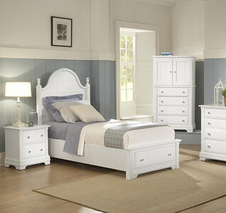 Cottage Collection Panel Storage Bed (Snow White Finish)