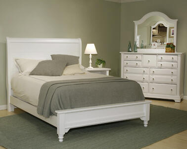 Cottage Collection Sleigh Bed (Snow White Finish)