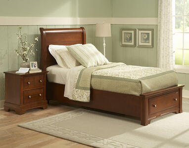 Cottage Collection Sleigh Storage Bed (Cherry Finish)