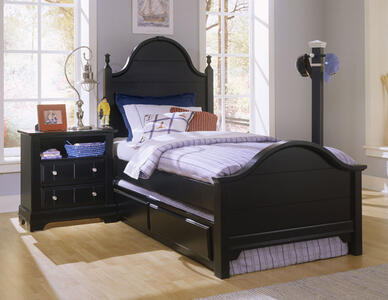 Cottage Collection Trundle Face Panel Bed (Black Finish)
