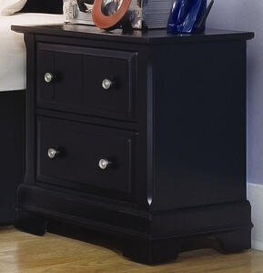 Cottage Collection Two Drawer Nightstand (Black Finish) - [BB16-226]