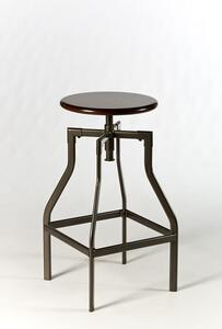Cyprus Adjustable Backless Stool (Pewter & distressed Cherry Finish) - [5036-832]