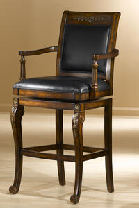 Douglas Bar Stool (Distressed Cherry & Black Leather Finish) - [61574]