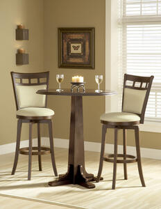 Dynamic Designs Pub Table Set (Beige & Brown Cherry Finish)