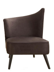 Elegant Accent Chair with Left-Flared Back (Black Microfiber) - [LC2132MFBLLE]