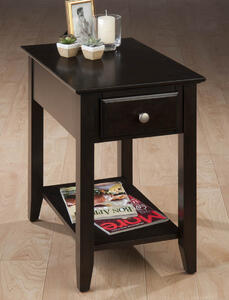 Espresso Chairside End Table - [1037-7]