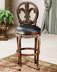 Fleur De Lis Triple Leaf Counter Stool (Distressed Cherry Finish) - [62969]