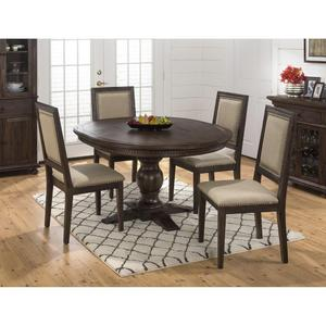 Geneva Hills Round to Oval 5 Piece Dining Set - [678-60B+678-60T+4x678-423KD]