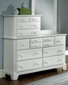 Hamilton Franklin Ten Drawer Vanity Dresser (Snow White Finish) - [BB6-003]