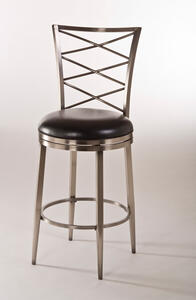Harlow Swivel Counter Stool (Antique Pewter & Black Vinyl Finish) - [5333-826]