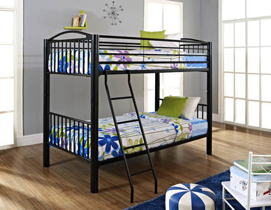 Heavy Metal Twin Over Twin Bunk Bed (Black) - [938-138]