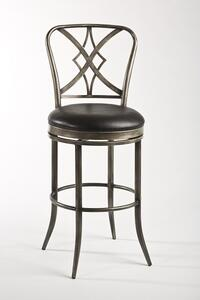 Jacqueline Swivel Bar Stool (Pewter Rub & Black Finish) - [5124-830]