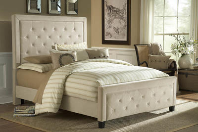Kaylie Tufted Upholstered Bed in Buckwheat Microfiber Fabric - [1566BQRK]