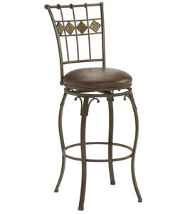 Lakeview Swivel Barstool Slate Accent (Brown Finish) - [4264-830]