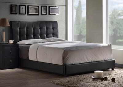 Lusso Bed (Black Faux Leather) - [1281BQR]