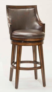 Lyman Square Back Swivel Counter Stool in Rustic Oak and Brown Vinyl - [4481-826]