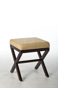 Morgan Vanity Stool (Espresso with Avignon Stone Fabric) - [50964]