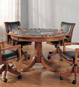 Park View Game Table (Medium Brown Oak Finish)