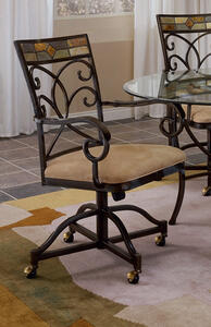 Pompei Caster Dining Chair - Set of 2 (Black Gold & Slate Mosaic Finish) - [4442-806]