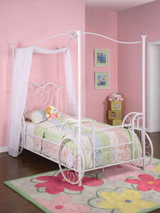 Princess Emily Carriage Canopy Twin Bed (Antique White) - [374-042]