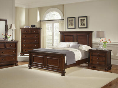 Reflections Mansion Panel Bed (Dark Cherry Finish)
