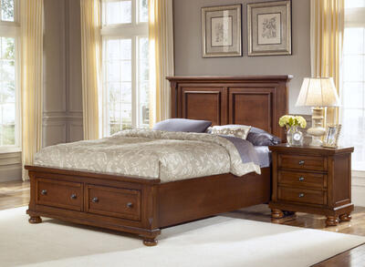 Reflections Mansion Panel Storage Bed (Medium Cherry Finish)