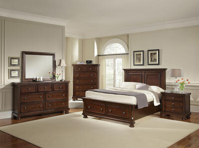 Reflections Mansion Storage Bedroom Set (Dark Cherry Finish)