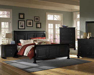 Reflections Sleigh Bed (Ebony Finish)